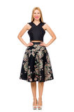 Woman in floral dark skirt isolated on white Royalty Free Stock Photo