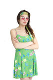 Woman in Floral Green Fashion Crossing her Arms stock photos