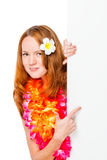 Woman in floral Hawaiian Lei shows a finger Stock Photography