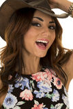 Woman in floral shirt hat on laugh Stock Photo