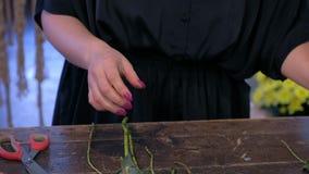 Woman florist prepares eucalyptus branches for bouquet in flower shop, closeup.