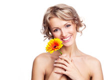 Woman with a flower Stock Photography
