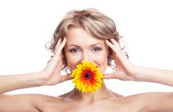 Woman with a flower Royalty Free Stock Image
