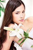 Woman with flower Royalty Free Stock Photos