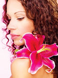 Woman with flower Stock Images