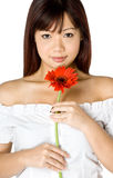 Woman And Flower. An attractive young Asian woman in white top holding a red flower on white background Stock Photo