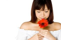 Woman And Flower. An attractive young Asian woman in white top holding a red flower on white background Stock Photography