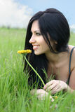 Woman with flower. Beautiful young woman with flower Royalty Free Stock Images
