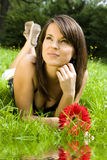 Woman And Flower Royalty Free Stock Image