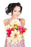 Woman with flower arrangement. Valentine's day gift Royalty Free Stock Photo