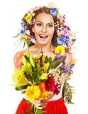 Woman with  flower bouquet. Stock Photos