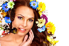 Woman with flower and  butterfly. Stock Images