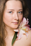 Woman with flower close up Royalty Free Stock Photography