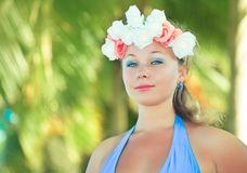 Woman in flower diadem Royalty Free Stock Photography
