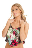 Woman flower dress both hands on shoulders Royalty Free Stock Images