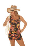 Woman flower dress cowgirl Stock Photo