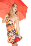 Woman flower dress umbrella look up Stock Photography