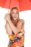 Woman flower dress umbrella shrug Royalty Free Stock Image