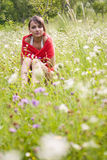Woman in flower field royalty free stock photos