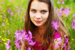 Woman on flower field Stock Photography
