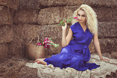 Woman with flower flirting. Stock Photography