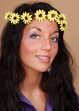 Woman with flower in hair Royalty Free Stock Images