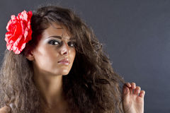 Woman with flower in hair. A young woman with a red flower in her hair Stock Image