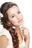 Woman with flower in hair royalty free stock image