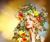 Woman  with flower hairstyle. Stock Photo