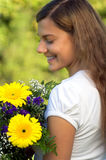 Woman flower happiness Stock Photo
