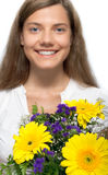 Woman, flower, happiness Stock Photo