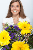 Woman, flower, happiness Royalty Free Stock Photo
