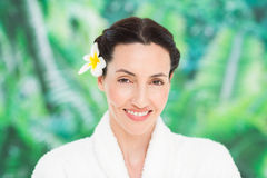 A woman with a flower in her hair Stock Photos