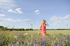 Woman on flower meadow Royalty Free Stock Photography