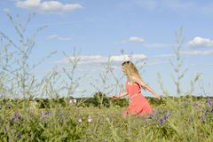 Woman on flower meadow Royalty Free Stock Images