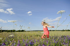Woman on flower meadow Stock Photography