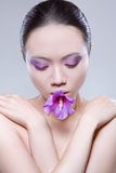 Woman flower mouth Stock Photos