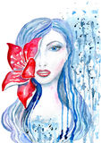 Woman with flower. Portrait of a woman with a flower in her hair in red and blue tones, splashes and stains isolated on white background, hand-painted watercolor Royalty Free Stock Image