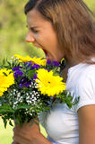 Woman flower scream Stock Images