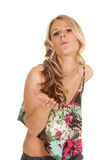 Woman flower shirt blow kiss Royalty Free Stock Photo