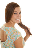 Woman flower shirt hold back close smile Stock Image