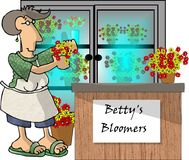 Woman in a flower shop. This illustration that I created depicts a woman working in a flower shop Stock Photography