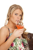 Woman flower tank top glass ready to drink Royalty Free Stock Photos