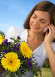 Woman flower telephone Royalty Free Stock Photos