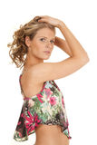 Woman flower top side serious hands hair Royalty Free Stock Photos