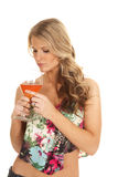 Woman flower top wine glass look down Stock Image