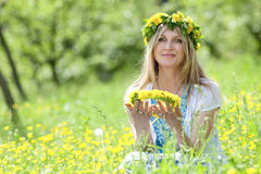 Woman with flower wreath Royalty Free Stock Photography