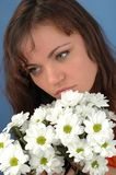Woman with flowers.  Stock Photo