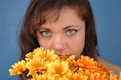 Woman with flowers.  Stock Image
