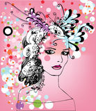 Woman and flowers. Illustration of pretty woman with colorful circles and flowers in her hair Stock Photo